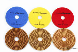 Stone Velocity Granite Diamond Polishing Pads 4 inch -Wet 3 STEP