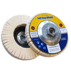 "Felt Flap Wheel for Wax 5"" 5/8-11 thread"