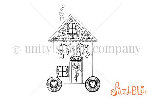 Gypsy Wagon-Exclusive Stamp by Suzi Blu