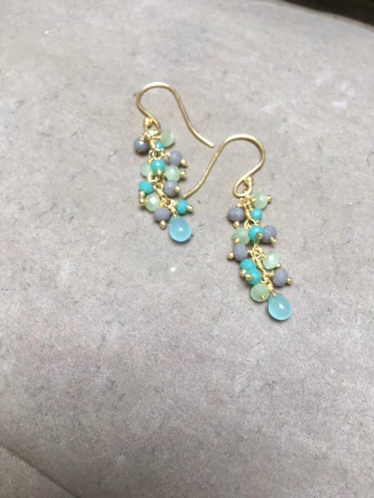 Earrings - Chalcedony Cluster