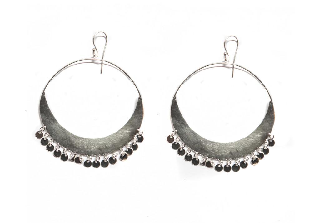 Crescent Earrings - Silver Discs
