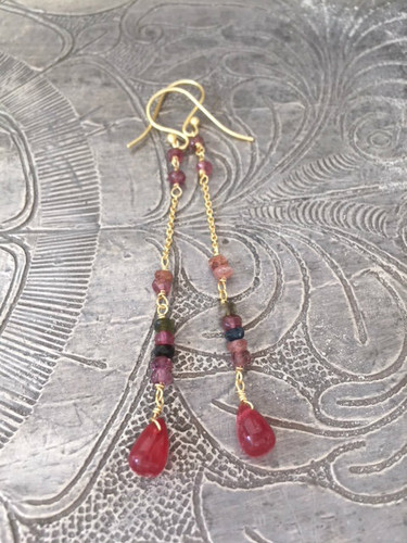 Earrings - Hanging Pink Sapphire