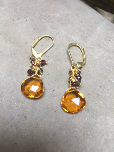 Earrings - Citrine Cluster