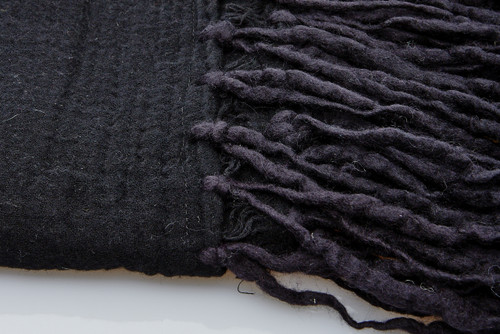 Soft Wool Blanket - Black Long Fringe