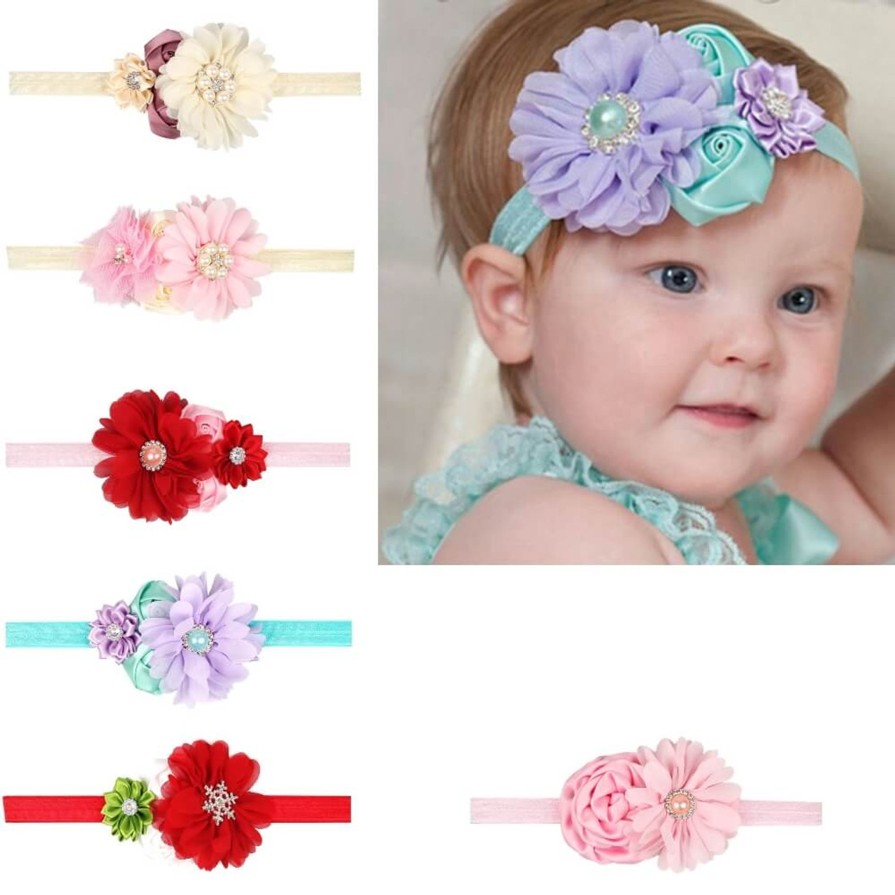 Baby 4 Flower Crown Headband Free Shipping 6 Colors