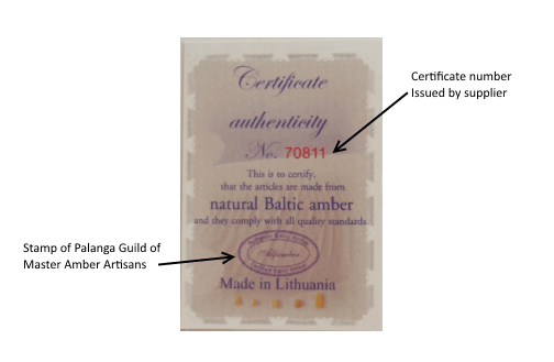 Amber Authenticty Certificate