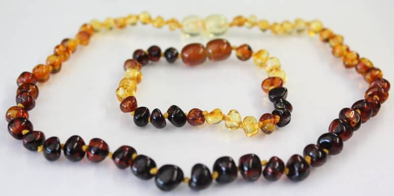 dew drop amber teething necklace