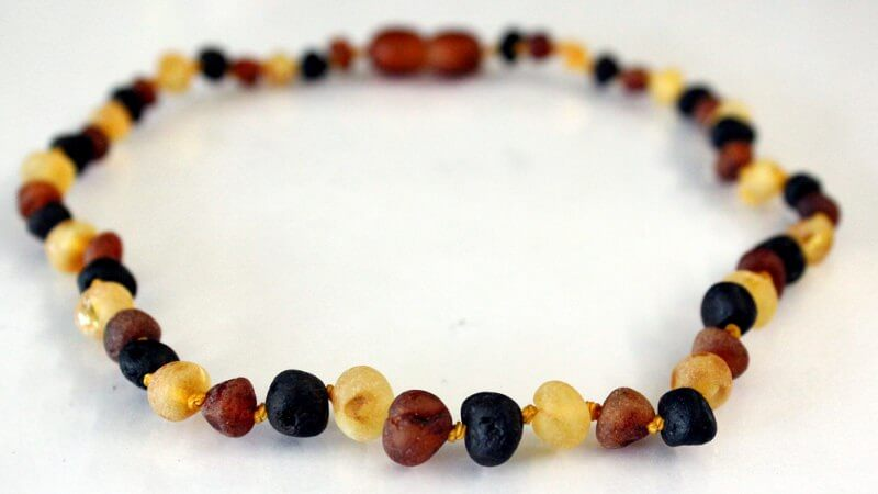 multicolor raw amber teething necklace