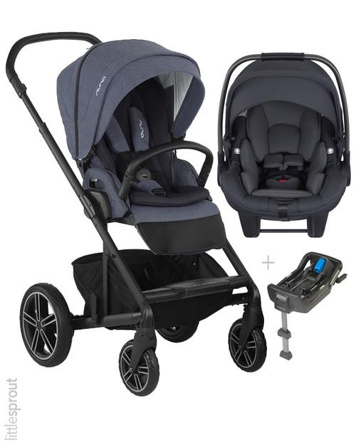 NunaR MIXXTM 2019 Bleu Verona Stroller PIPATM Car Seat Travel System MIXX Ring Adapter Included