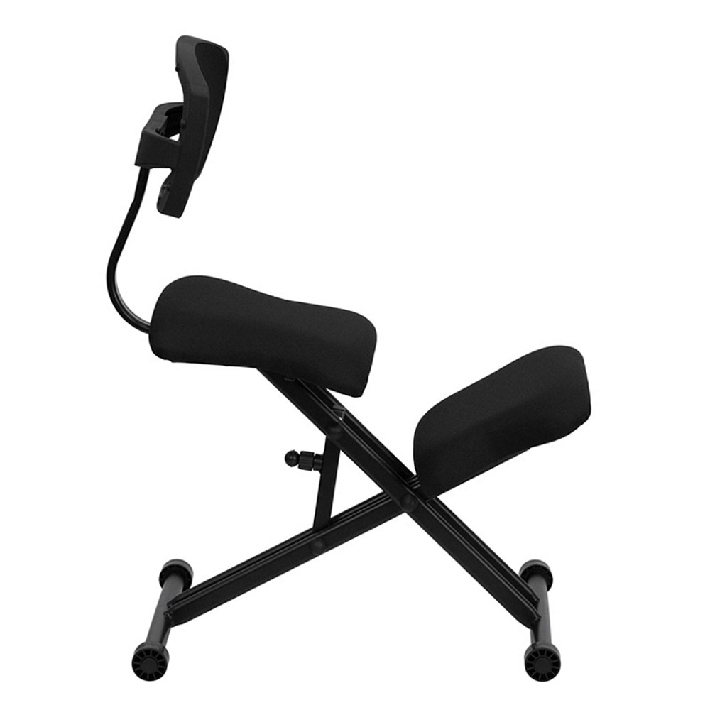 ... Flash Furniture Ergonomic Kneeling Chair with Back in Black Mesh and Fabric ...  sc 1 st  Seating Mind & Flash Furniture Ergonomic Kneeling Chair with Back in Black Mesh and ...