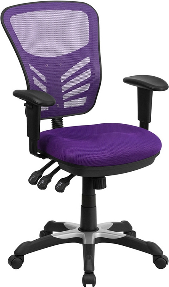 Flash Furniture Mid Back Purple Mesh Multifunction Executive Swivel Chair  With Adjustable Arms