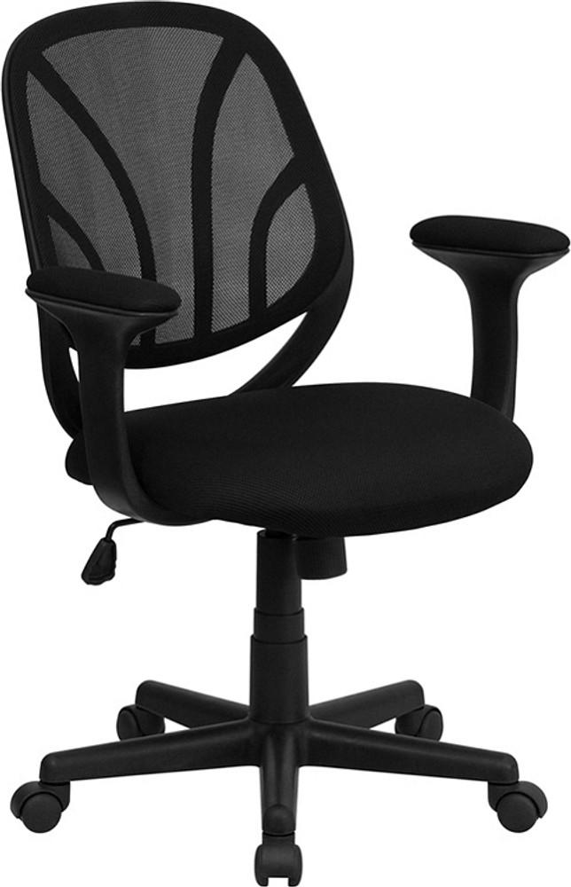 flash furniture y go chair trade mid back black mesh swivel task