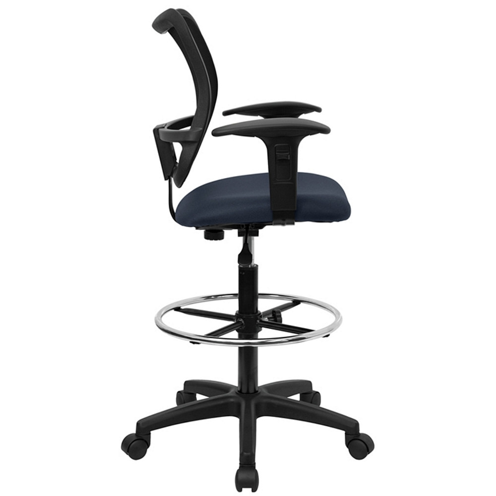 flash furniture mid back navy blue mesh drafting chair with