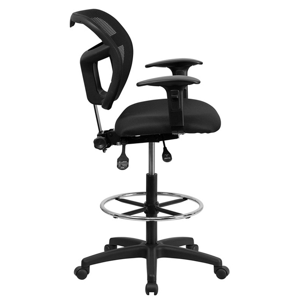 ... Flash Furniture Mid Back Black Mesh Drafting Chair With Adjustable Arms  1 ...