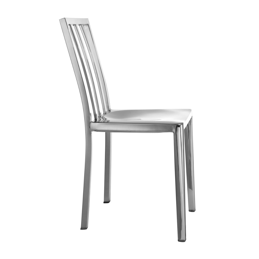 Fine Mod Eve Steel Dining Side Chair Polished Steel ...