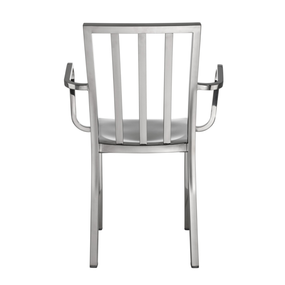 Fine Mod Eve Steel Dining Arm Chair Polished Steel
