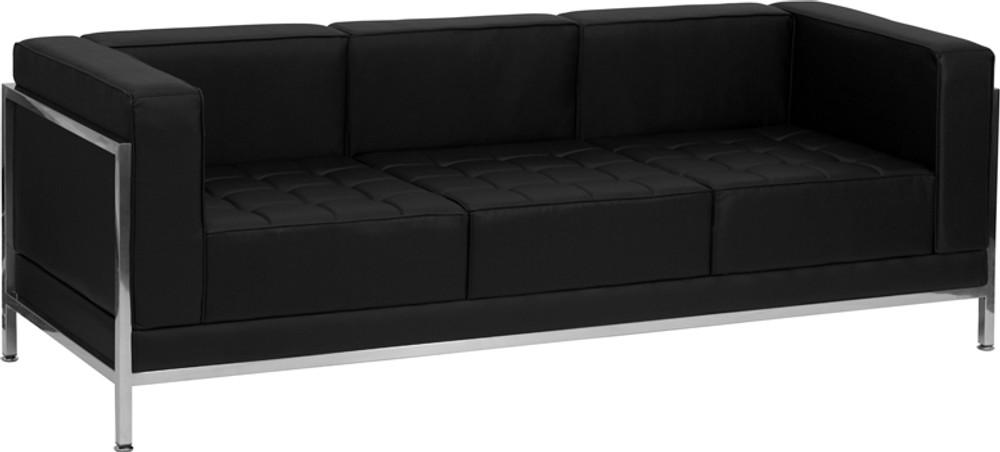 imagination office series black leather sofa lounge set 4 pieces
