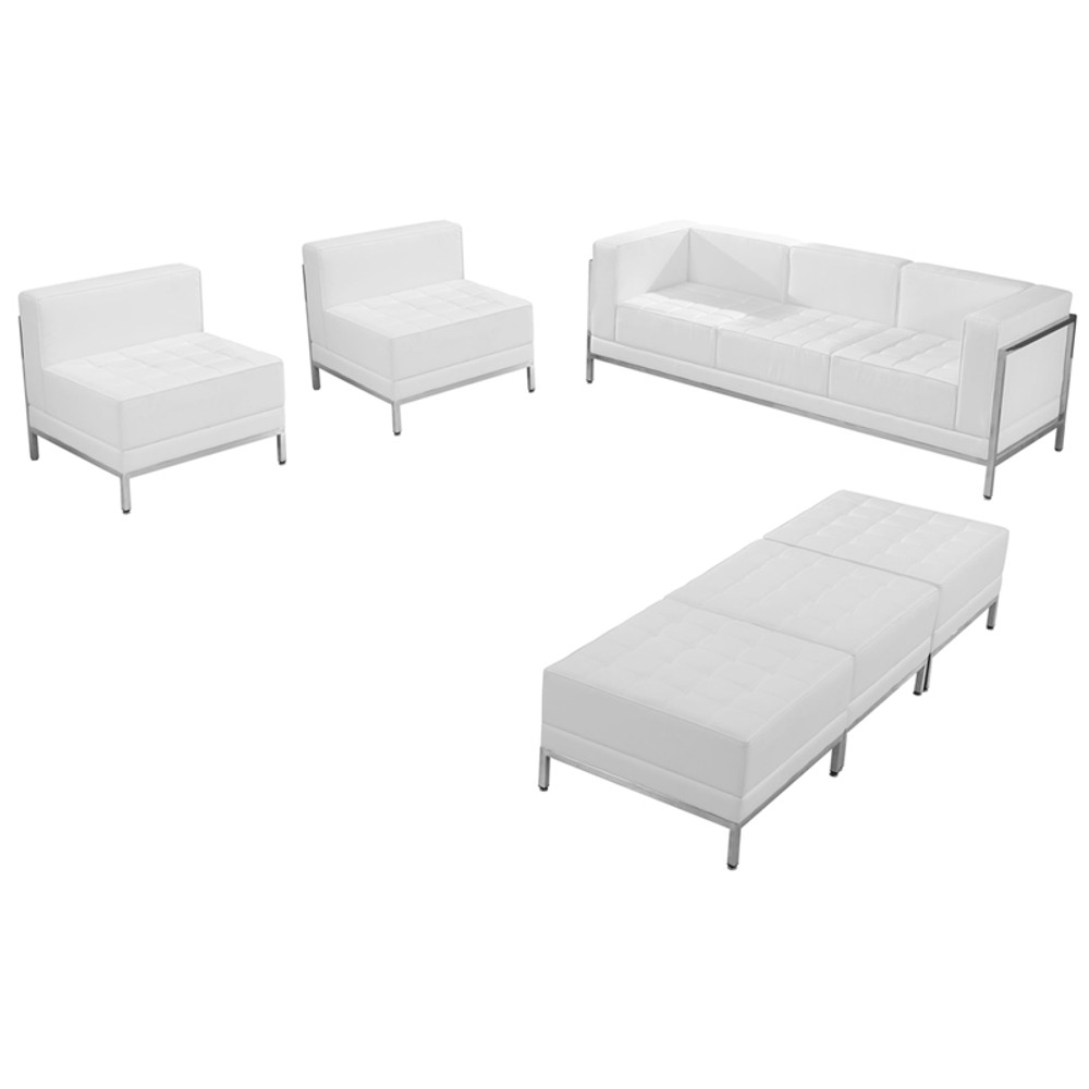 Lemoderno Imagination Office Series Melrose White Leather Sofa Chair U0026 Ottoman  Set ...
