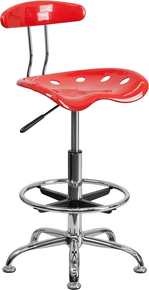 Attirant Flash Furniture Vibrant Cherry Tomato And Chrome Drafting Stool With Tractor  Seat ...