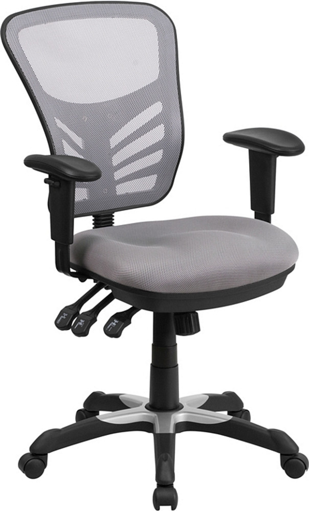Flash Furniture Mid Back Gray Mesh Multifunction Executive Swivel Chair  With Adjustable Arms