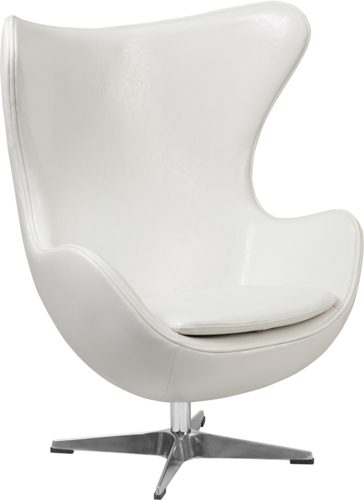 Lemoderno Melrose White Leather Egg Chair With Tilt Lock Mechanism