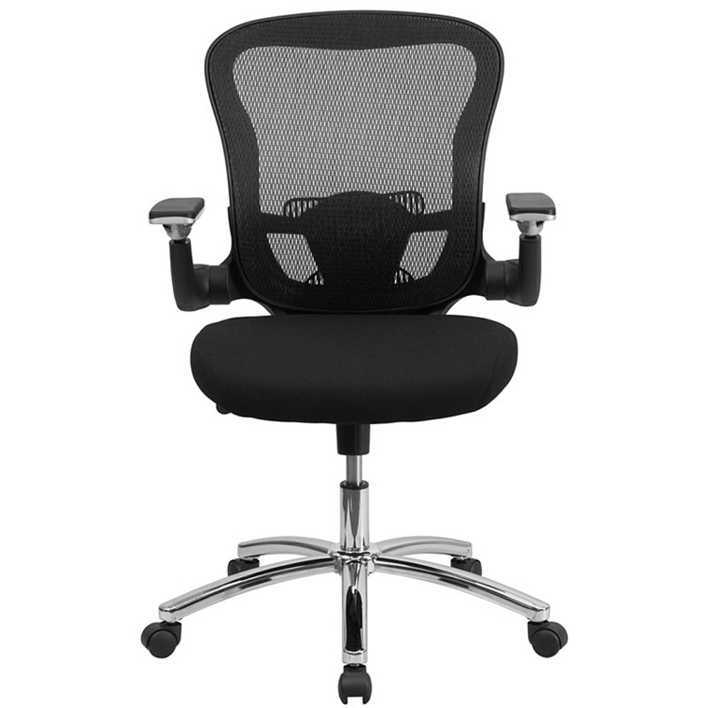 Bulk Lot 100 Lemoderno Mid-Back Black Mesh Executive Swivel Chair with Height Adjustable Flip-Up Arms