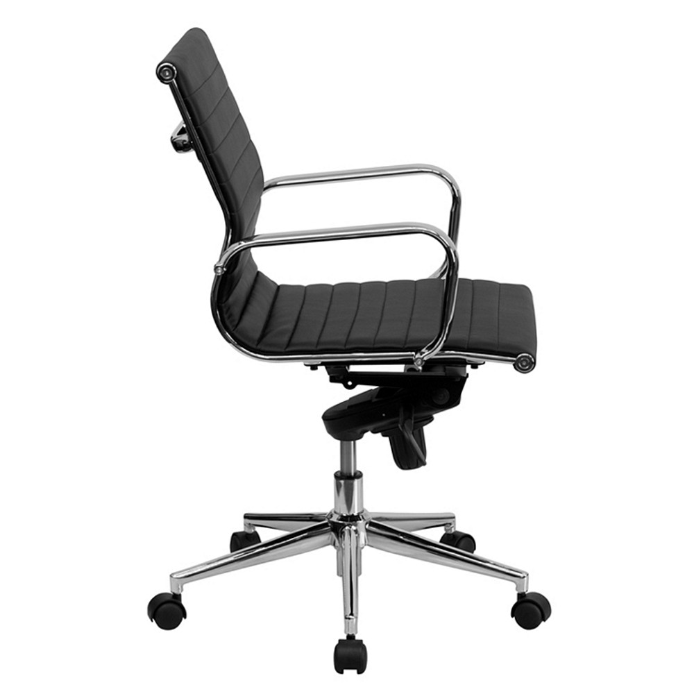 ... Bulk Lot 12 Lemoderno Mid Back Black Ribbed Leather Swivel Conference  Chair With Knee  ...