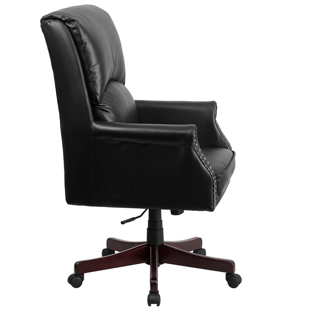 ... Bulk Lot 12 Lemoderno High Back Pillow Back Black Leather Executive  Swivel Chair With Arms ...