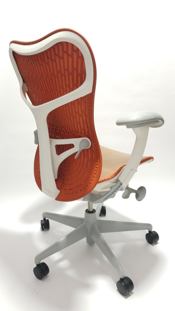 Herman Miller Mirra V2 Chair In Orange Fully Adjustable Model With Adjustable Lumbar Support