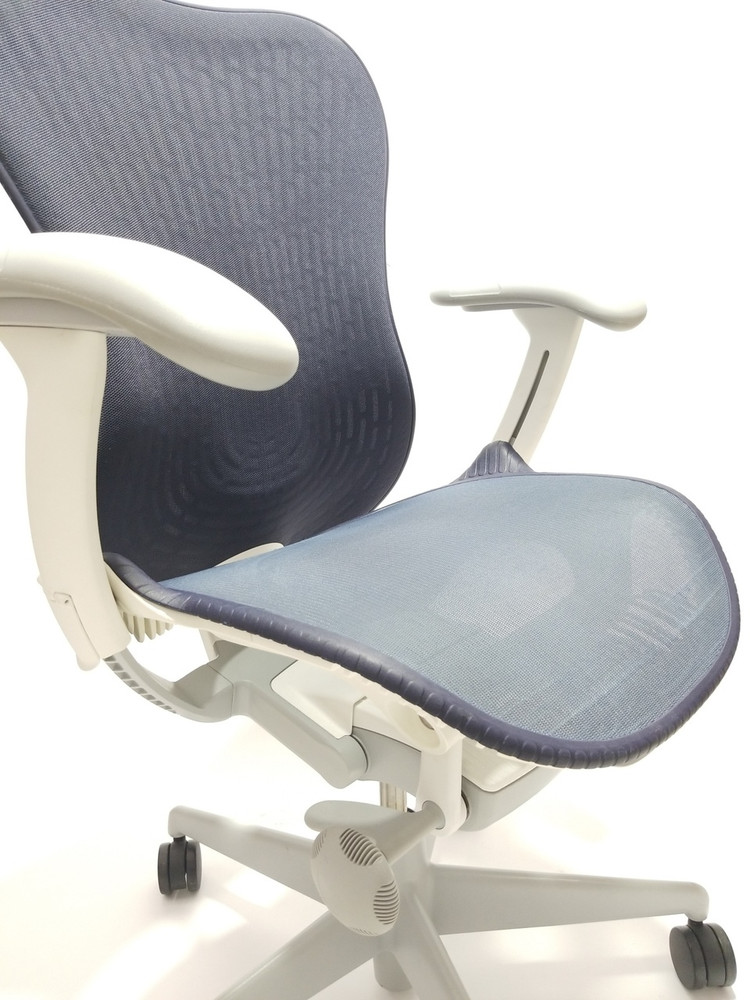 Herman Miller Mirra V2 Chair In Navy Fully Adjustable Model With Adjustable Lumbar Support