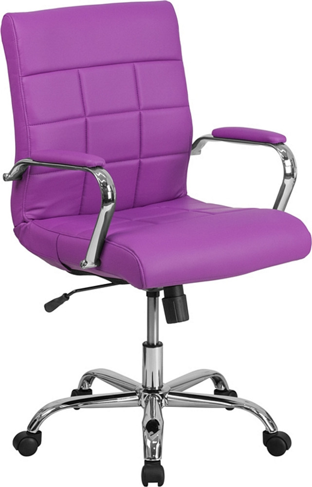 Merveilleux Flash Furniture Mid Back Purple Vinyl Executive Swivel Chair With Chrome  Base And Arms