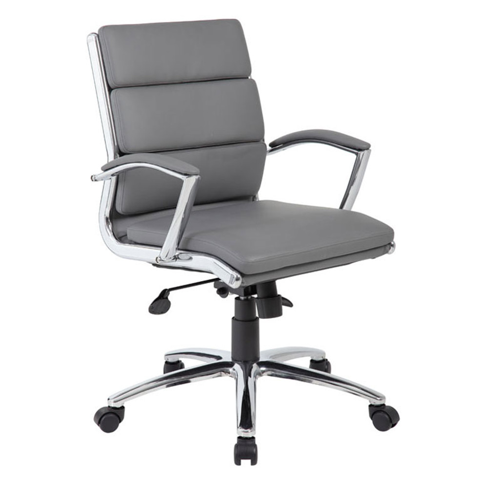 Boss Executive CaressoftPlus™ Chair with Metal Chrome Finish - Mid Back B9476-GY