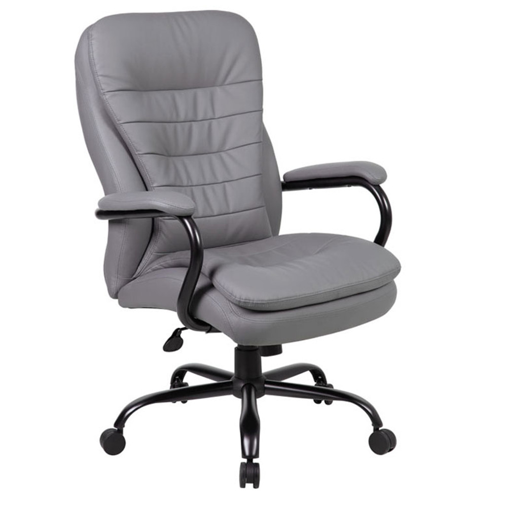 Boss Heavy Duty Double Plush CaressoftPlus Chair - 350 Lbs.  B991-GY
