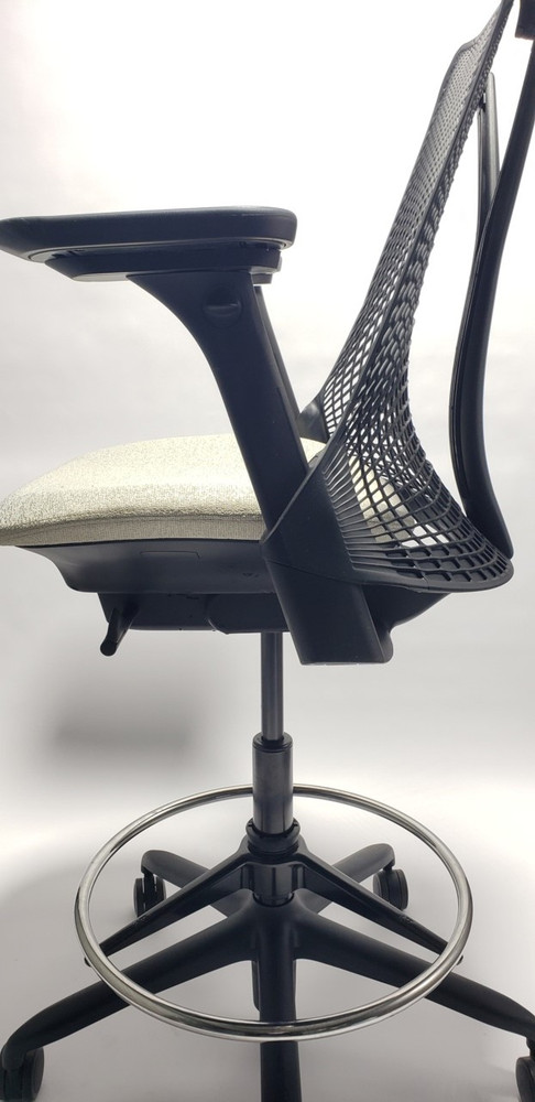 Herman Miller Sayl Stool in Black Back Gray Seat with Fully Adjustable Arms