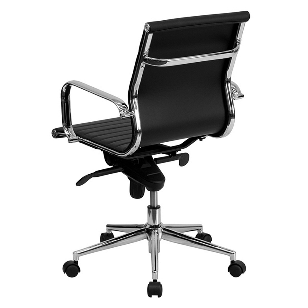 Lemoderno Mid-Back Black Ribbed Leather Swivel Conference Chair with Knee-Tilt Control and Arms