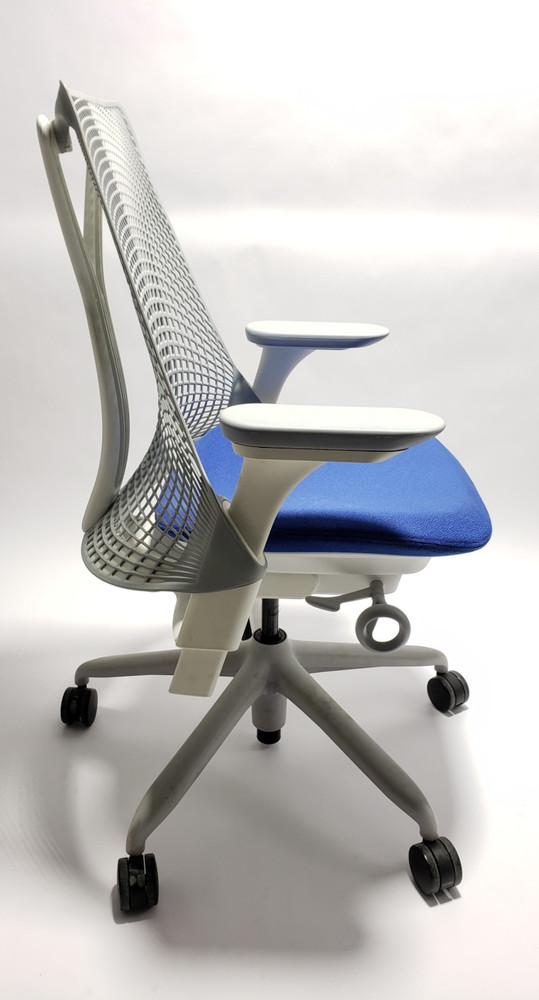Herman Miller Sayl Chair White and Gray Frame and Navy  Seat