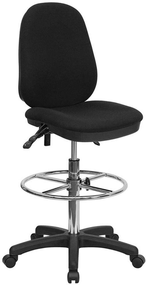 Flash Furniture Black Multifunction Ergonomic Drafting Chair With  Adjustable Foot Ring