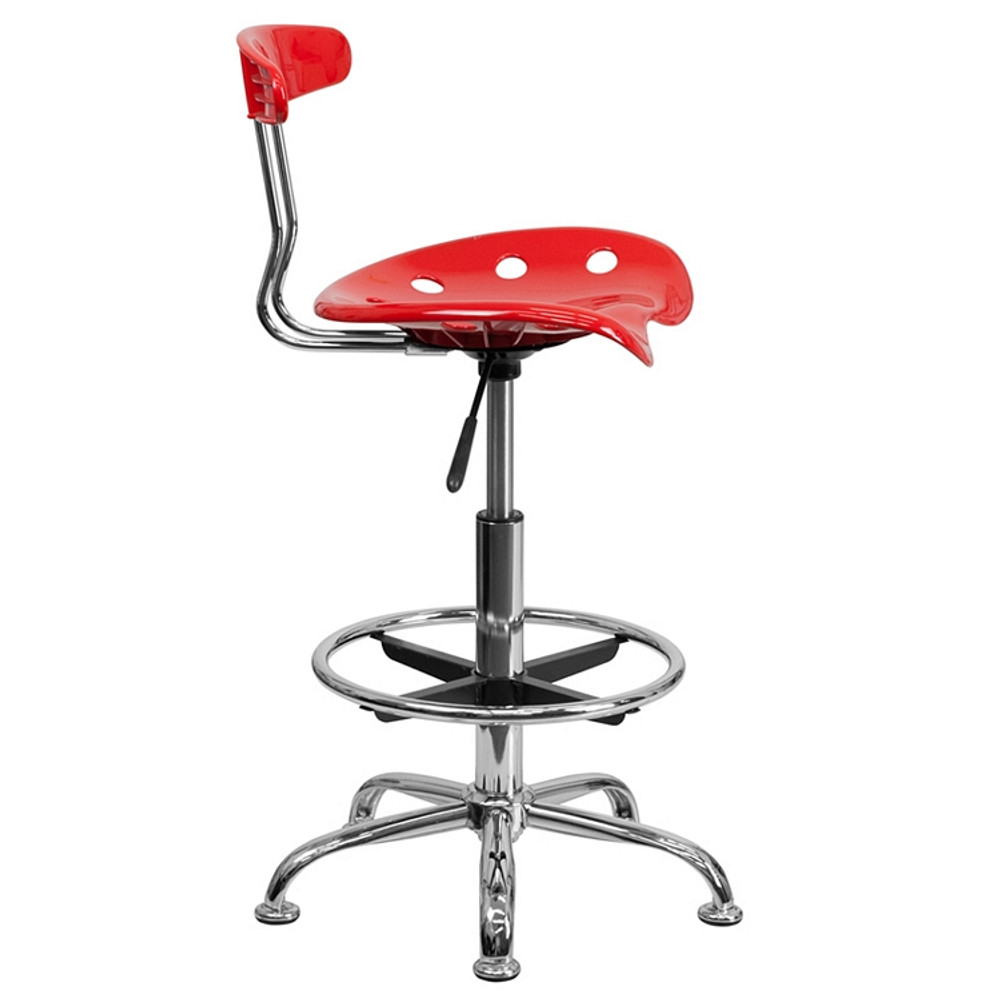 ... Flash Furniture Vibrant Red And Chrome Drafting Stool With Tractor Seat  ...