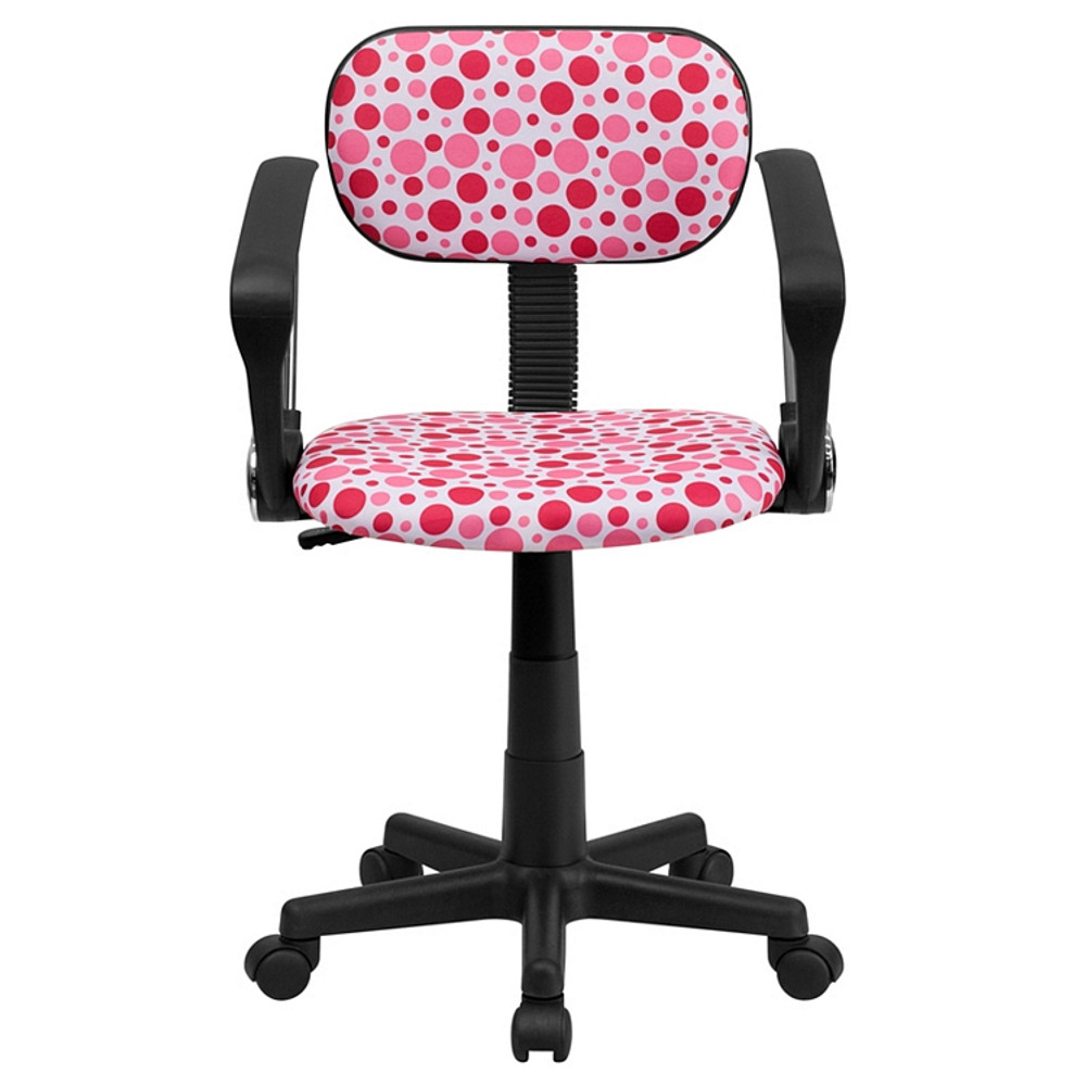 ... Flash Furniture Pink Dot Printed Swivel Task Chair With Arms