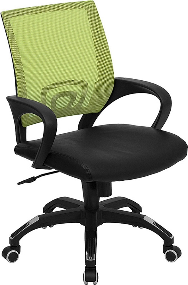 flash furniture mid back green mesh swivel task chair with black