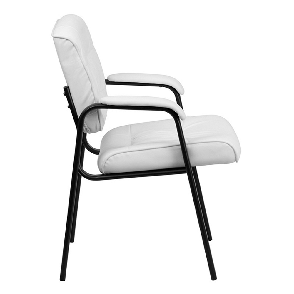 white leather executive chair. Flash Furniture White Leather Executive Side Reception Chair With Black Frame Finish