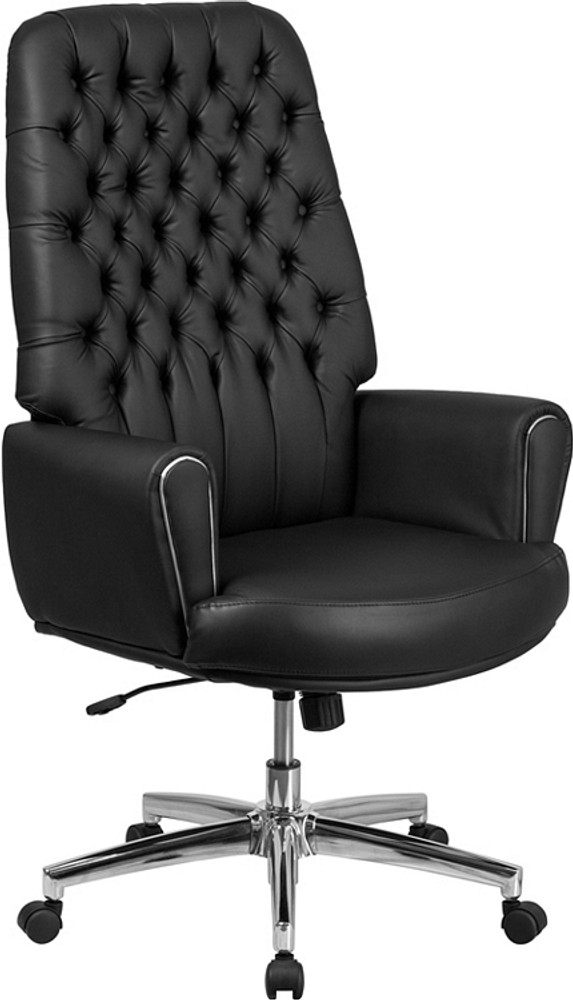 Flash Furniture High Back Traditional Tufted Black Leather Executive Swivel  Chair With Arms ...