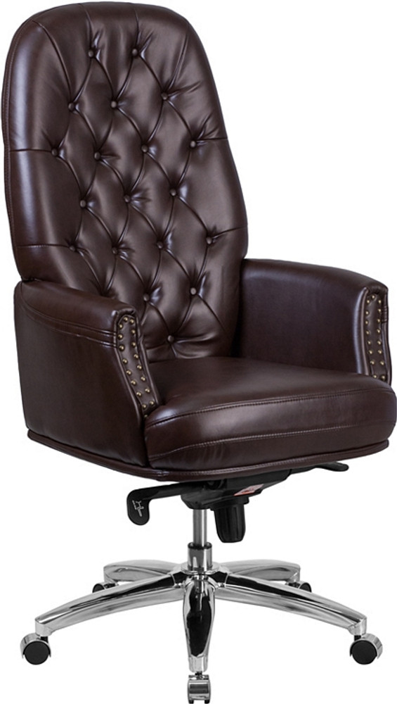 flash furniture high back traditional tufted brown leather