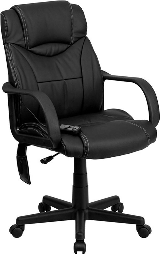 flash furniture high back massaging black leather executive swivel