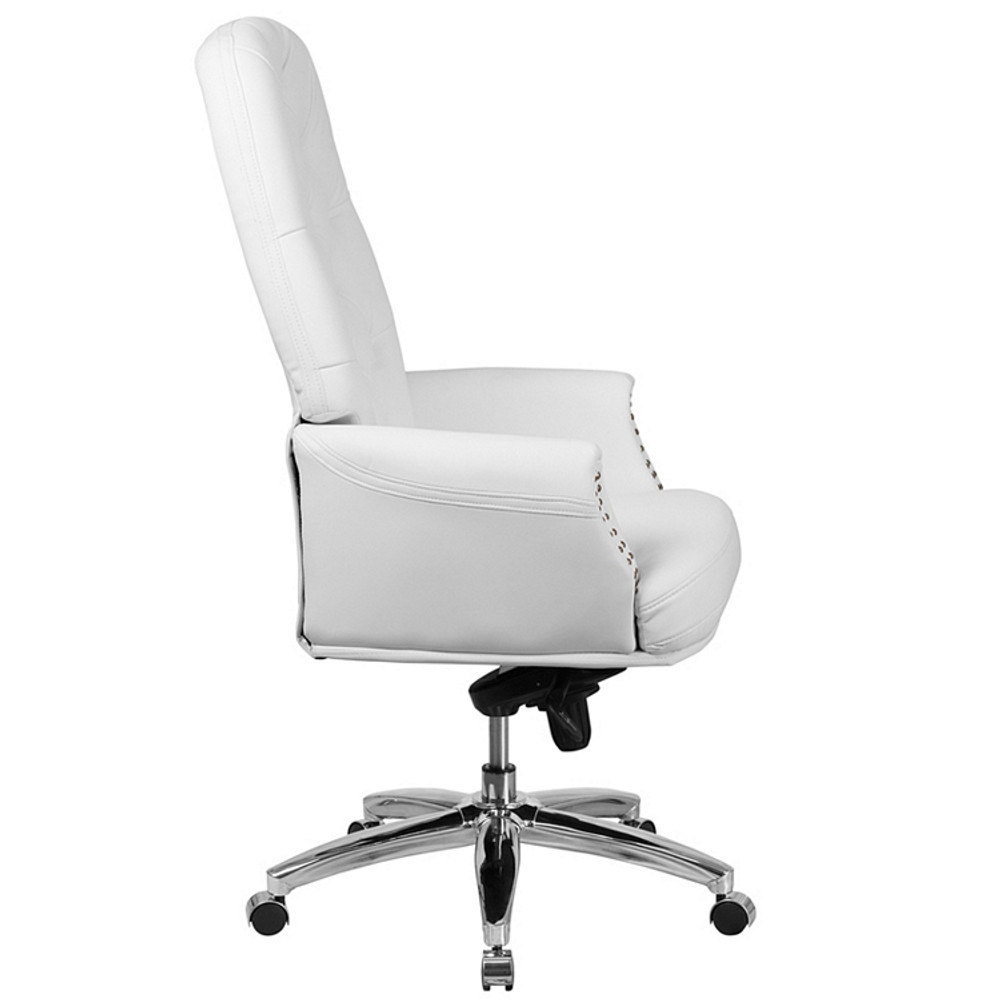 ... Flash Furniture High Back Traditional Tufted White Leather  Multifunction Executive Swivel Chair With Arms ...