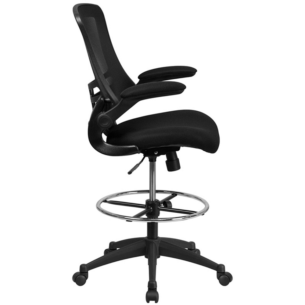 Attirant ... Flash Furniture Mid Back Black Mesh Drafting Chair With Adjustable Foot  Ring And Flip  ...