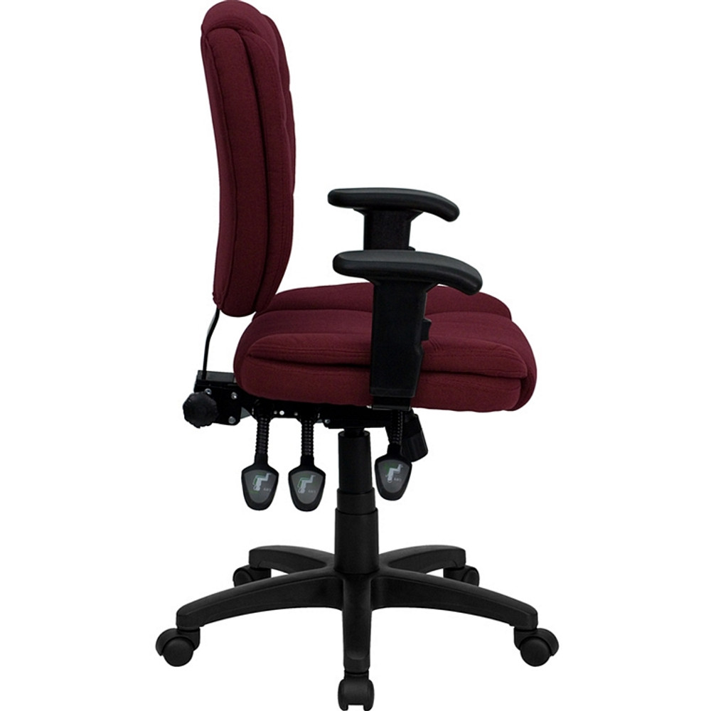 ... Flash Furniture Mid Back Burgundy Fabric Multifunction Ergonomic Swivel Task  Chair With Adjustable Arms ...