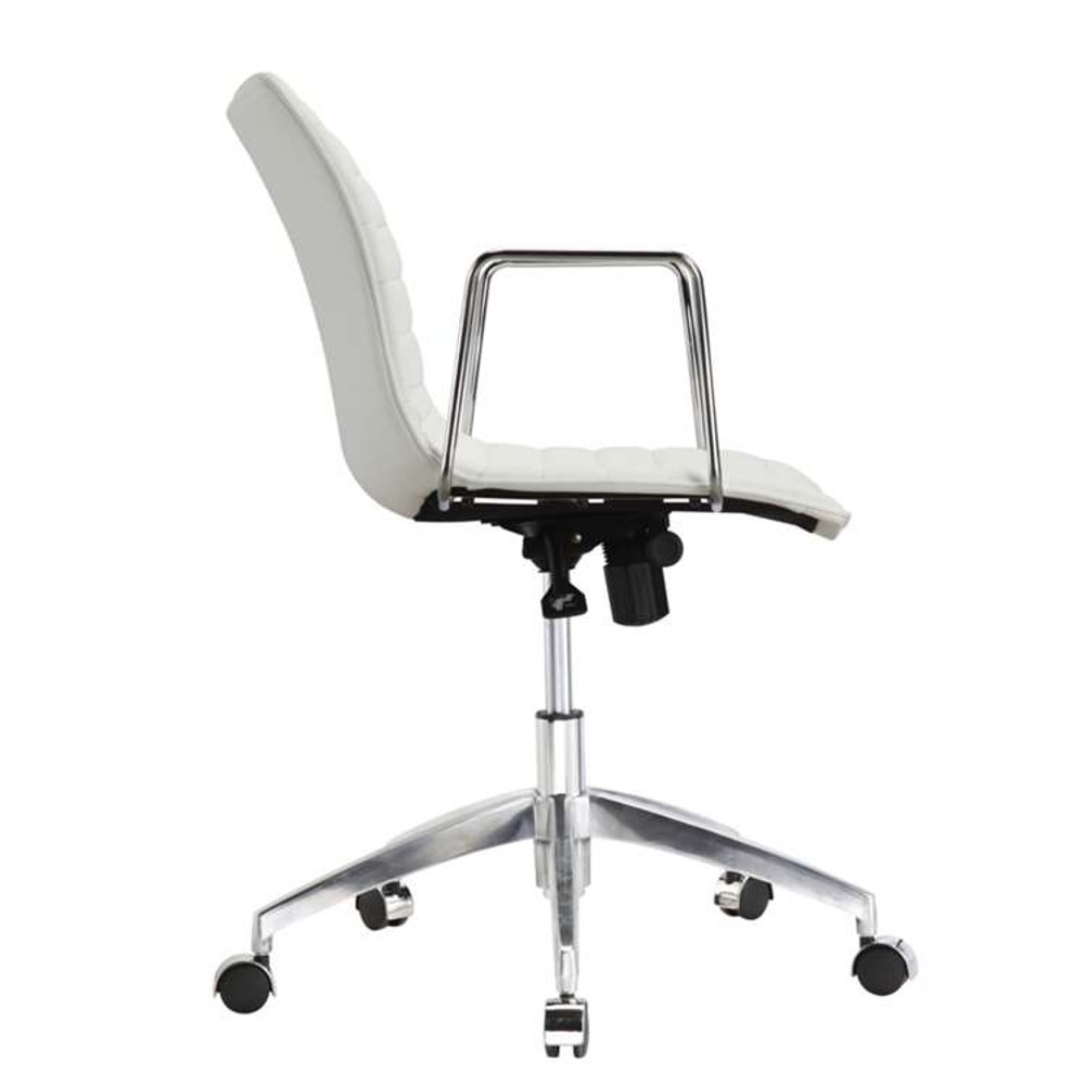 ... White Fine Mod Comfy Office Chair Mid Back, ...