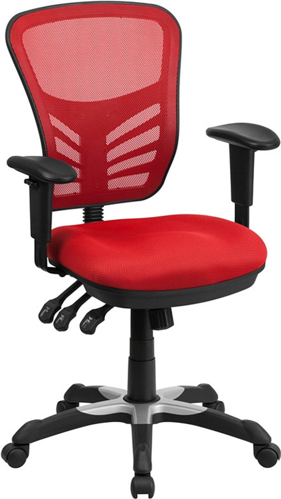 Flash Furniture Mid Back Red Mesh Multifunction Executive Swivel Chair With  Adjustable Arms