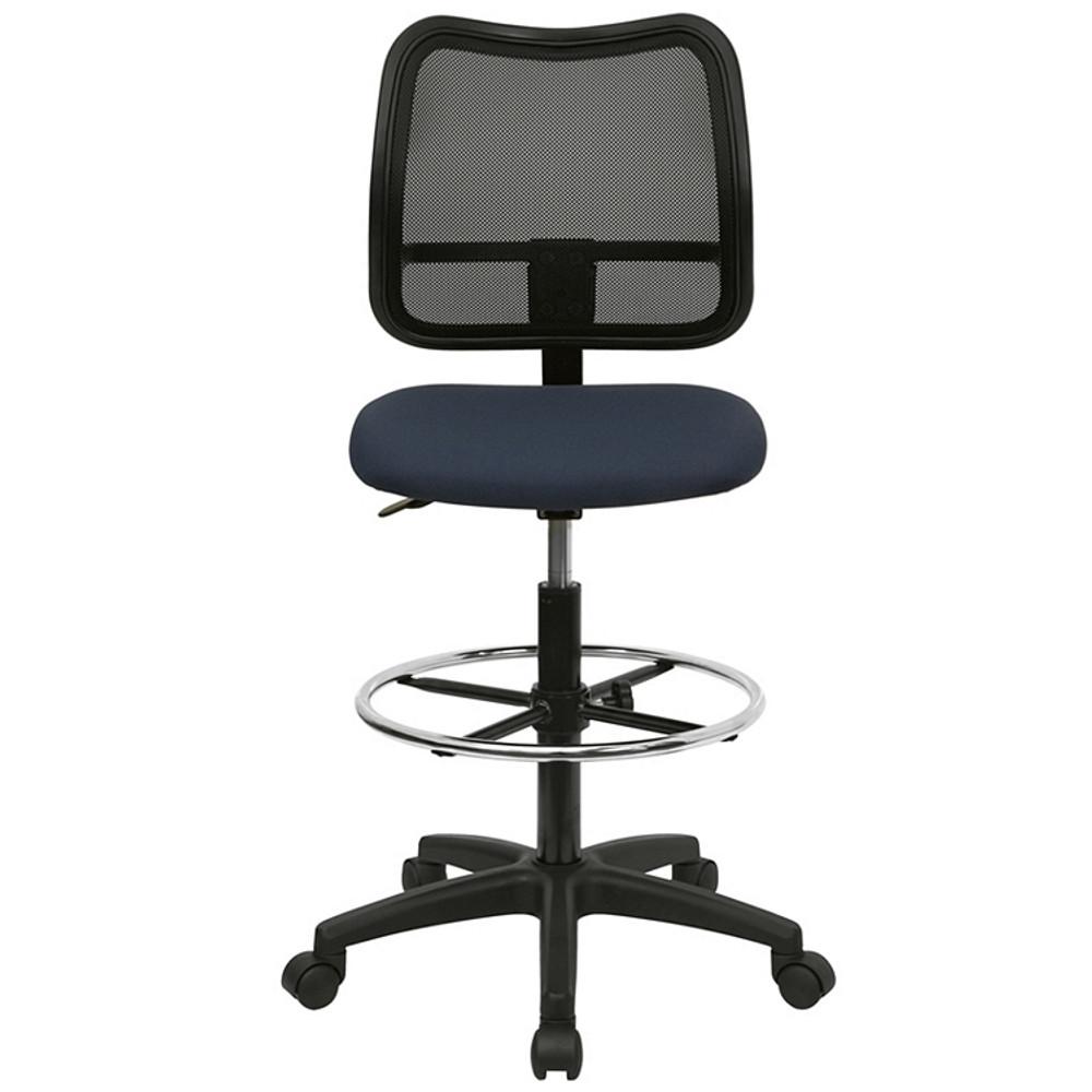 flash furniture mid back navy blue mesh drafting chair